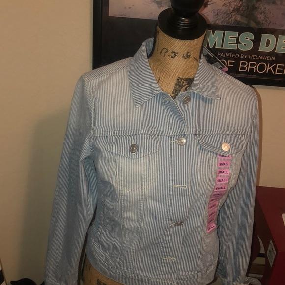 Nine West striped jeans jacket small